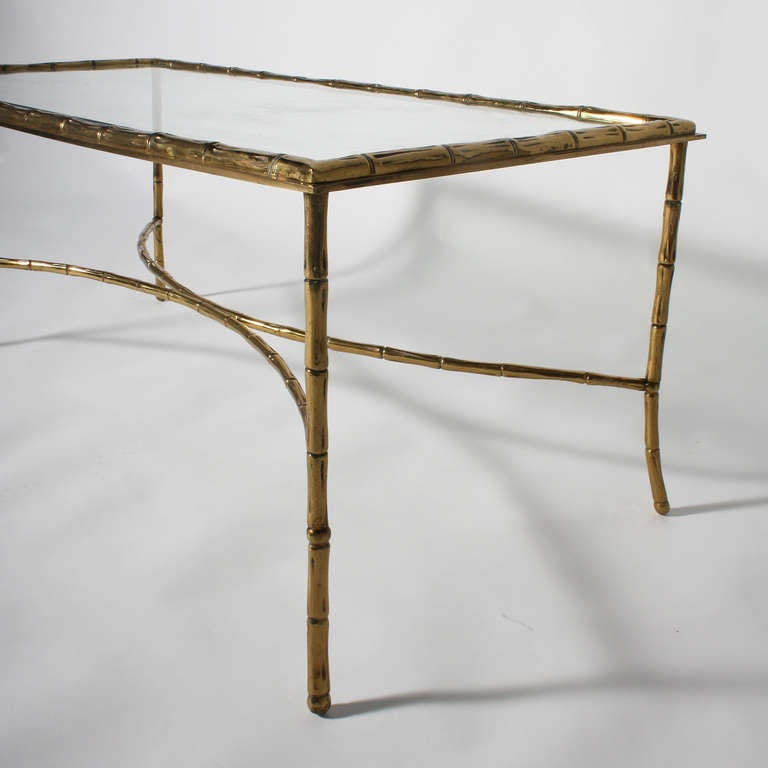 Bagues Bronze Faux Bamboo Coffee Table With Glass Top, C. 1950 2