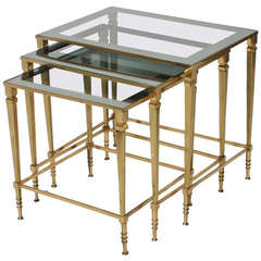 French Brass Nest of Tables with Glass Tops