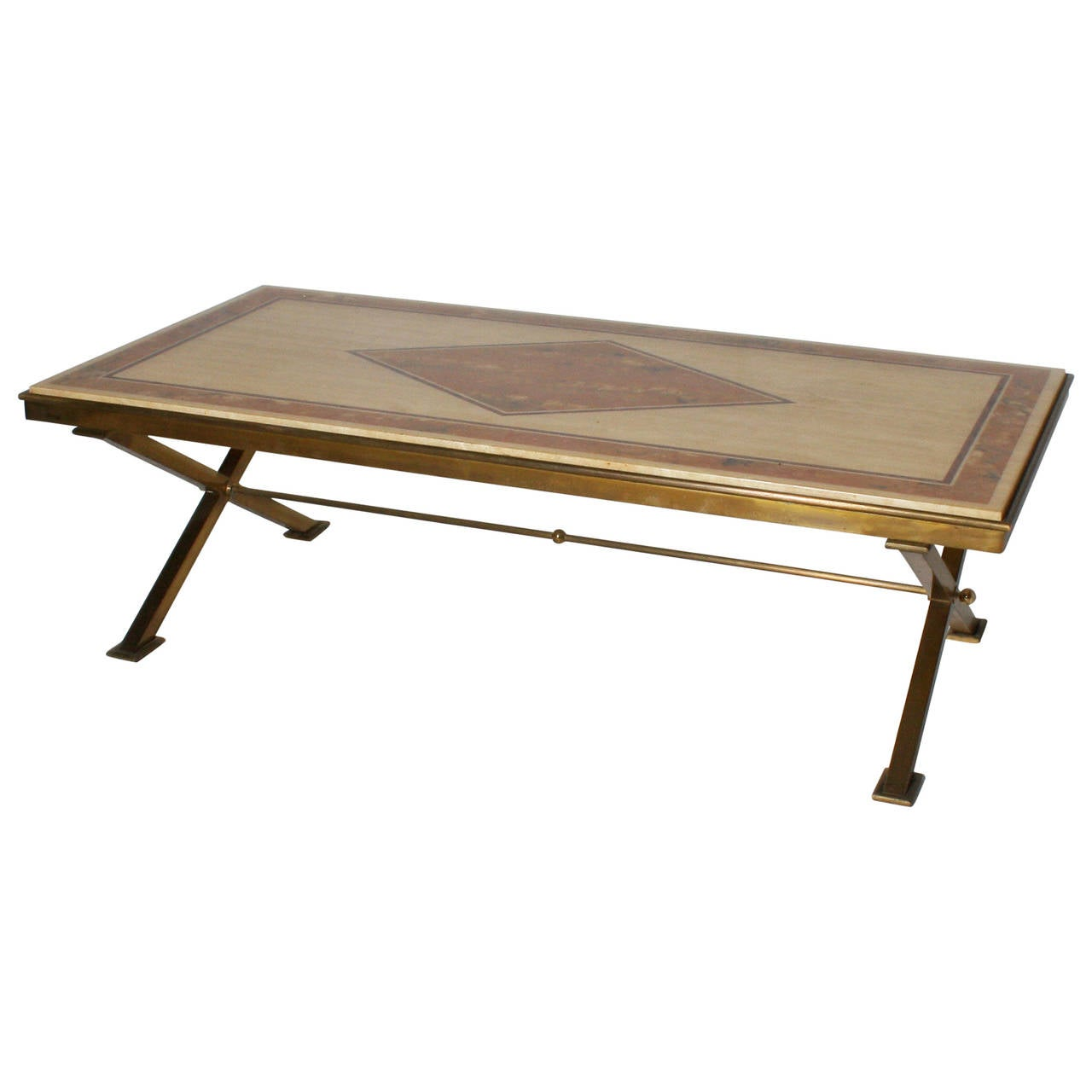1950s Bronze X Base Coffee Table With Travertine Top And Faux Marble By Jansen At 1stdibs