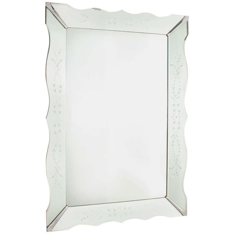 french mirror frame mirror with etching circa 1940 1 - Mirrored Frame