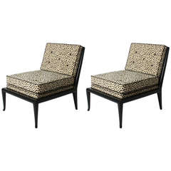 Pair of tufted slipper chairs covered in snow leopard fabric, c. 1960