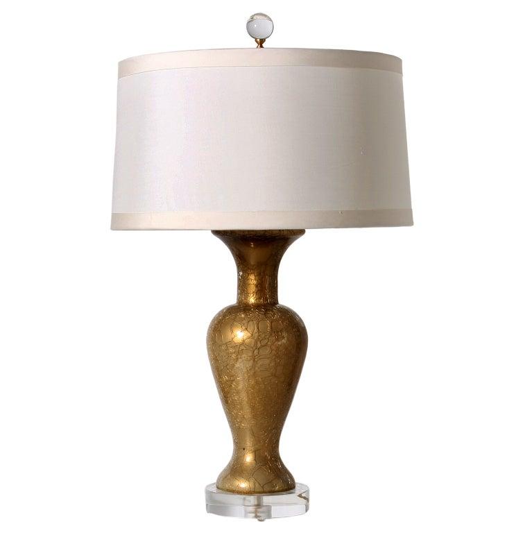 Paul hansen gold crackle lamp c1950 at 1stdibs for Gold crackle floor lamp