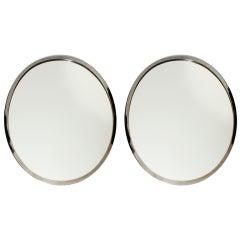 Pair of Belgium Oval Nickel Framed Mirrors, circa 1960