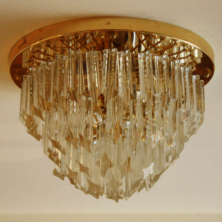 Veronese Murano Flush Mount With Brass And Glass Crystal