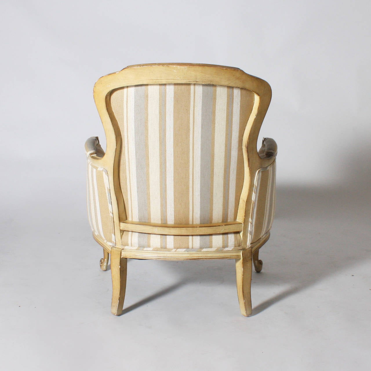 Pair Of Louis Xvi Style Bergeres In Kravet Stripe Circa