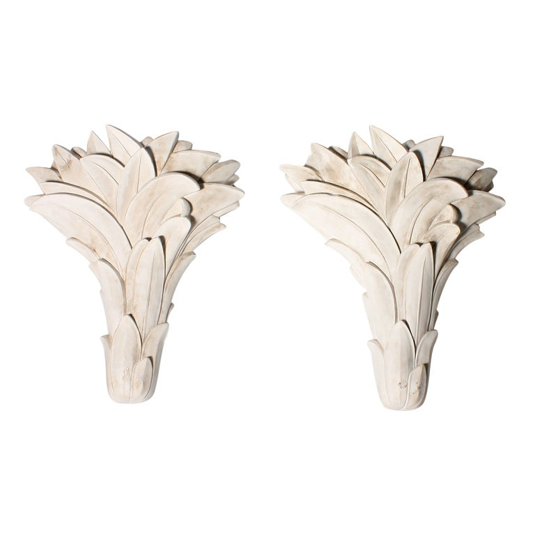 Wall Sconces Plaster : Pair of Serge Roche plaster sconces, c.1920 at 1stdibs