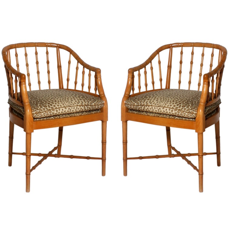 Pair Of Faux Bamboo Hollywood Regency Style Barrel Back