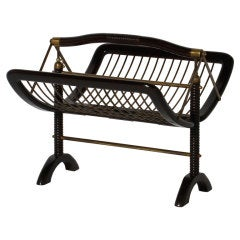 Italian mahogany folding magazine rack with brass details