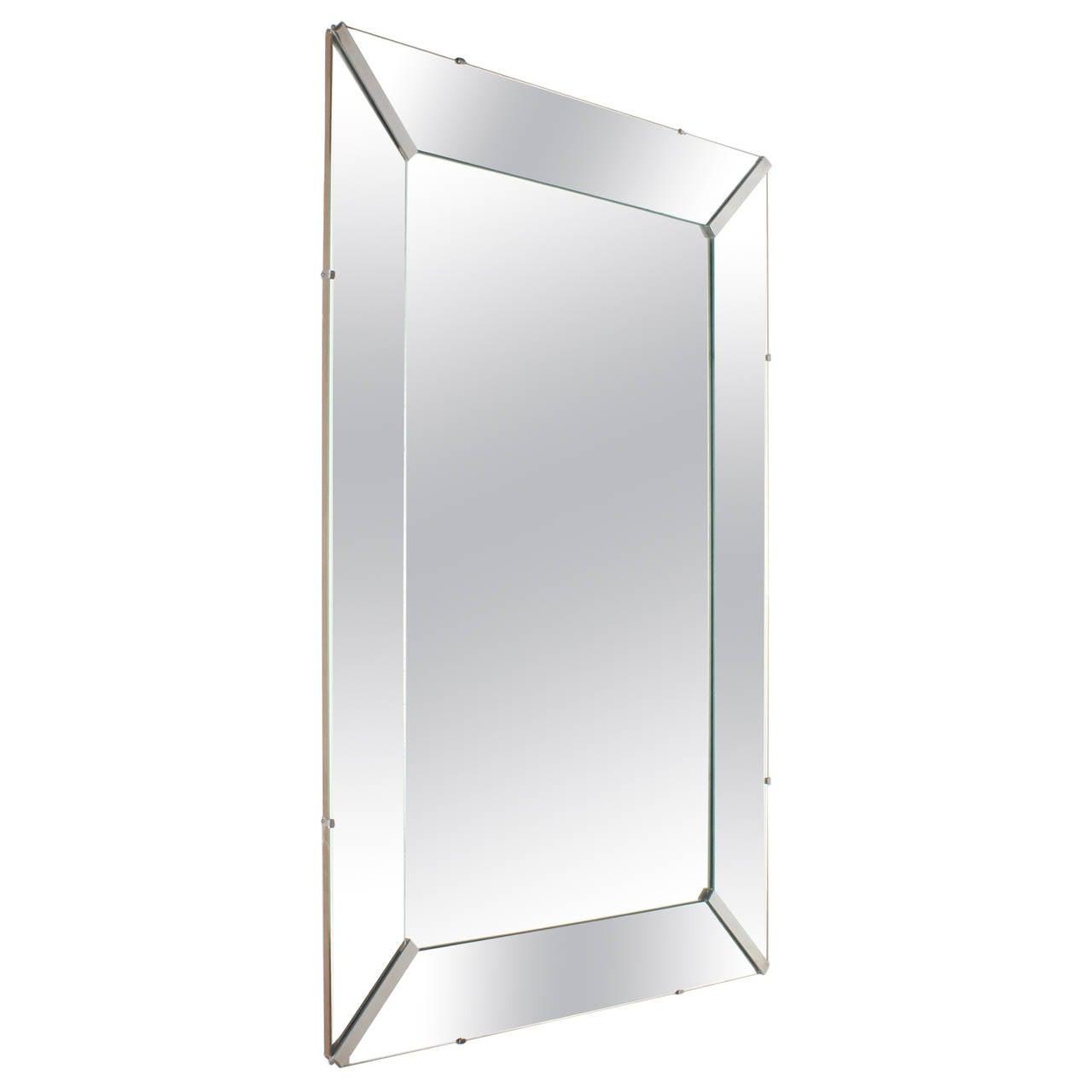 Straight Edge Mirrored Frame Mirror, circa 1940 at 1stdibs