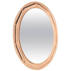 Oval Coral and Clear Mirror with Bubble Inset, circa 1960