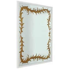 French Eglomise Mirror With Ivory Lacquer Frame