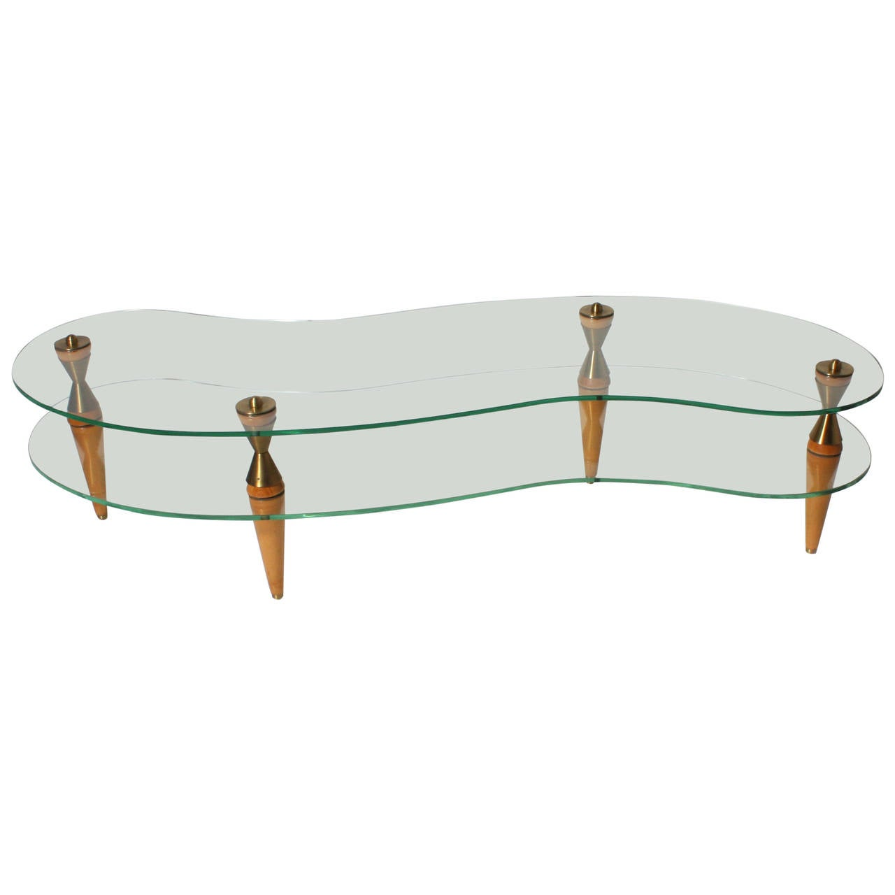 French glass merisier and bronze amorphic coffee table c for French glass coffee table