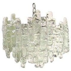 Clear glass tubular chandelier by Kalmar, c. 1950