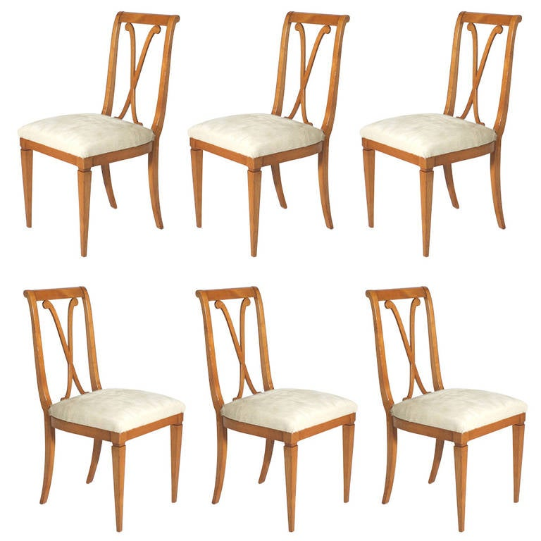 Cowhide Dining Room Chairs: Set Of Six Merisier Dining Chairs In Cream Cowhide, Circa