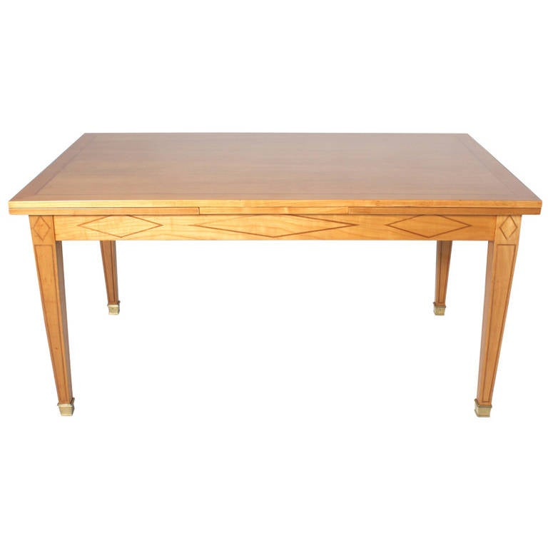 french merisier and brass dining table with parquetry design
