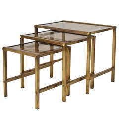 Set of 3 Brass and Glass Nest of Tables ca. 1940