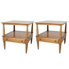 Pair of French walnut side tables, c. 1940