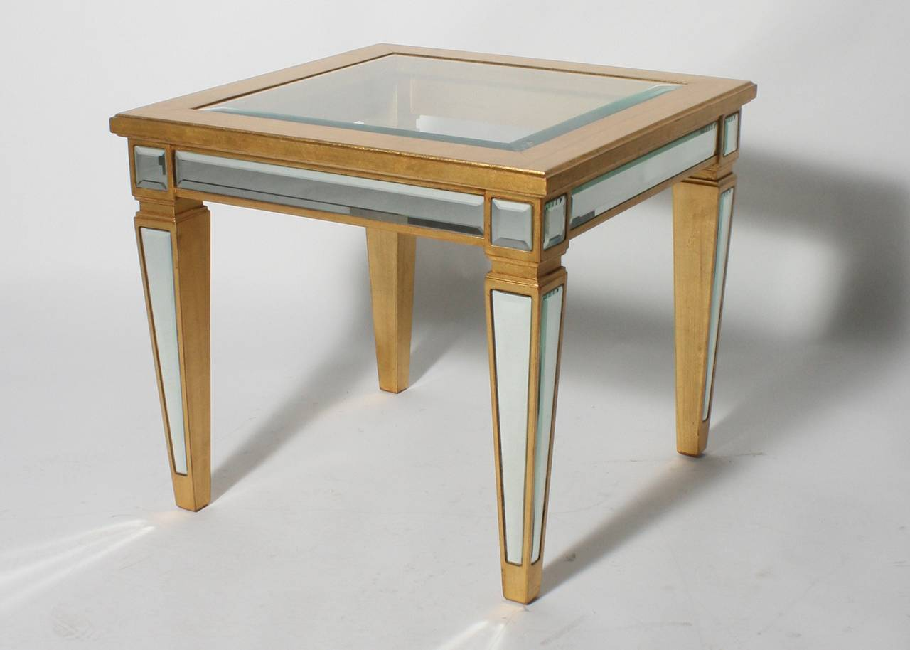 Pair Of French Gold Leaf Wood And Mirrored Tables Circa 1960 At 1stdibs