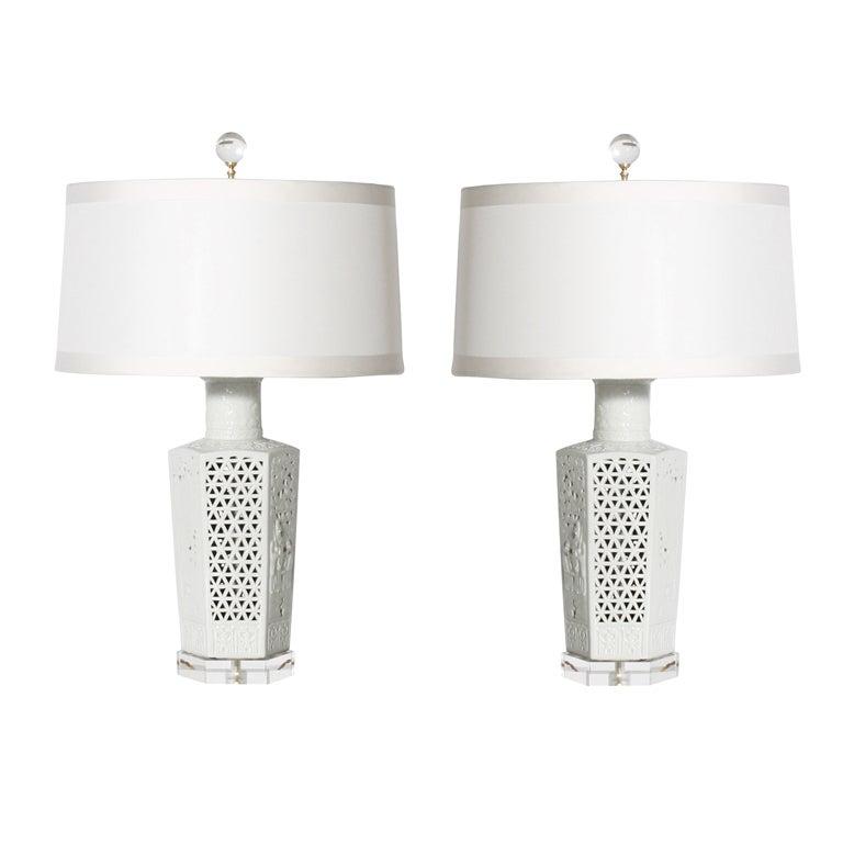Pair of blanc de chine lamps, c. 1960 1
