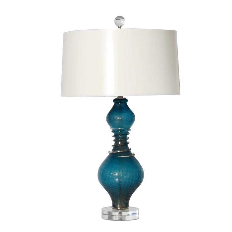Turquoise Murano Glass Lamp C 1960 At 1stdibs