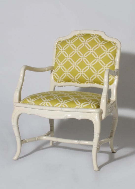 Pair of ivory lacquer faux bamboo chairs
