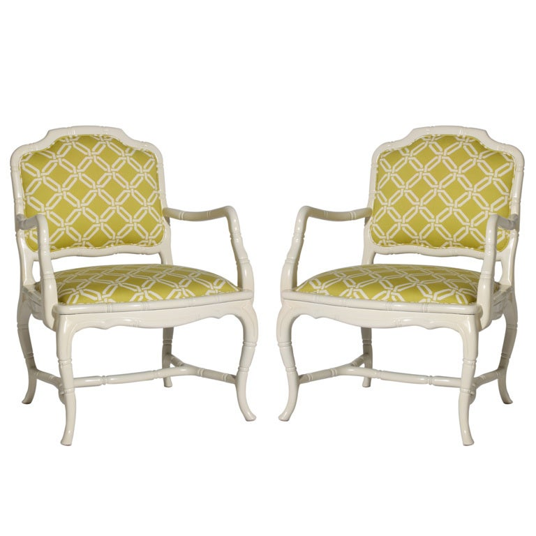 Pair of faux bamboo chairs, c. 1960 For Sale