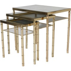 Set of 3 faux bamboo brass nesting tables, c.1960