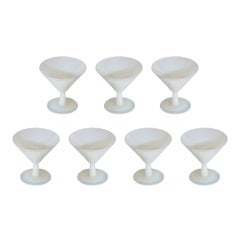 Set of 7 French white moonstone Opaline martini glasses, c. 1940