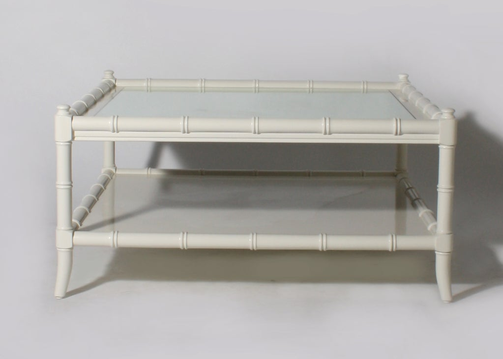 Thomasville Ivory Lacquer Faux Bamboo Coffee Table C 1960 At 1stdibs