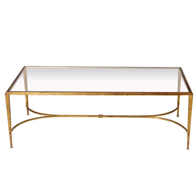French Gold Coffee Table: Gold Leafed French Ramsey Iron Coffee Table, C. 1940 At