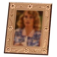 Pink mirrored frame with floral etching c. 1940