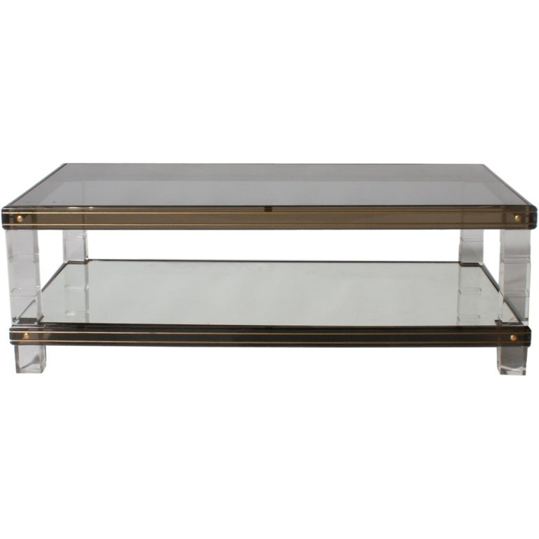 Glass Mirror And Lucite Coffee Table At 1stdibs