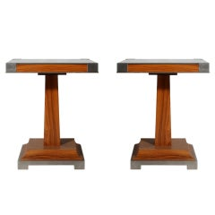 Pair of walnut tables with nickel base and corners, c. 1940