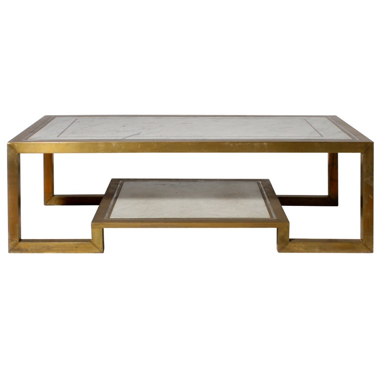 Bronze And Marble Coffee Table With Two Shelves C 1970 At 1stdibs