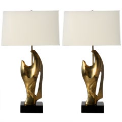 Pair Of Bronze Sculptural Lamps Attributed To Phillippe Jean