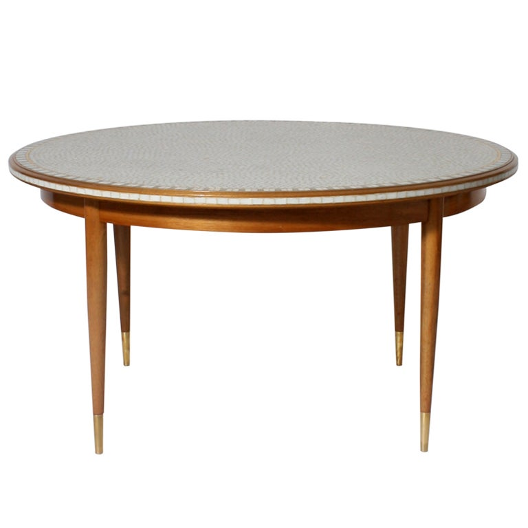 round table with wood legs and mosaic tile inlaid top c
