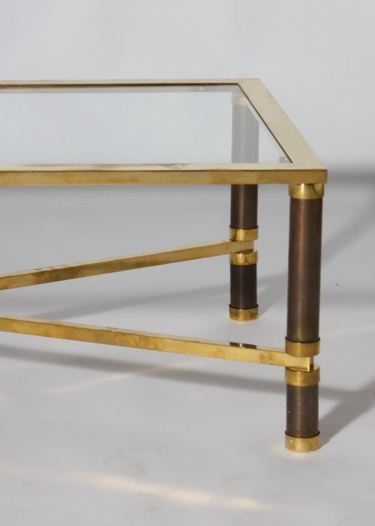 Bronze Coffee Table Black Metal Copper And Clear Glass Image 2