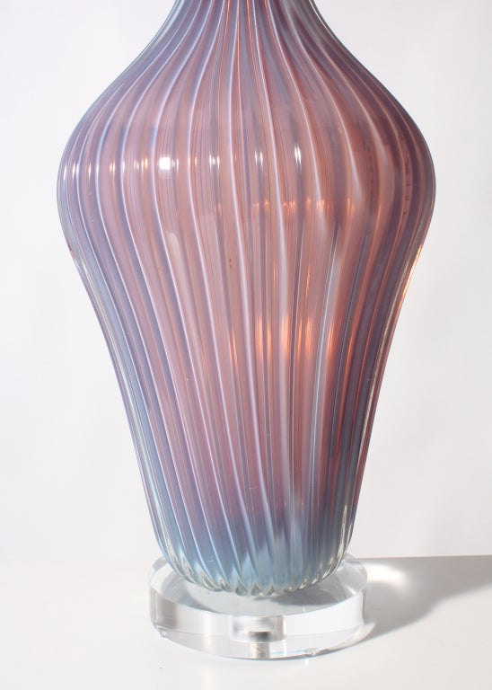 Seguso Marbro Opaline Murano Glass Lamp, C. 1950 image 3