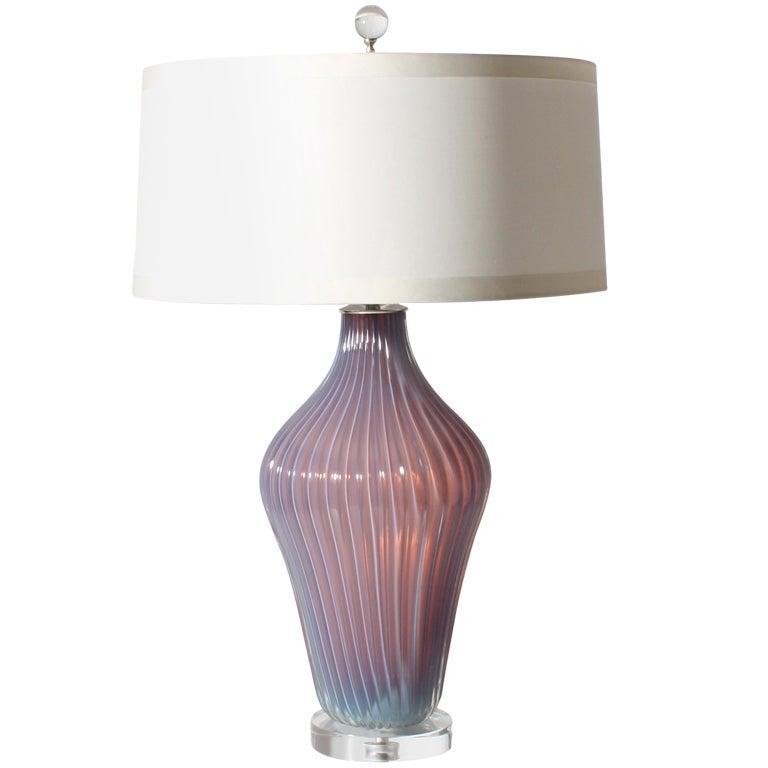 Seguso Marbro Opaline Murano Glass Lamp, C. 1950