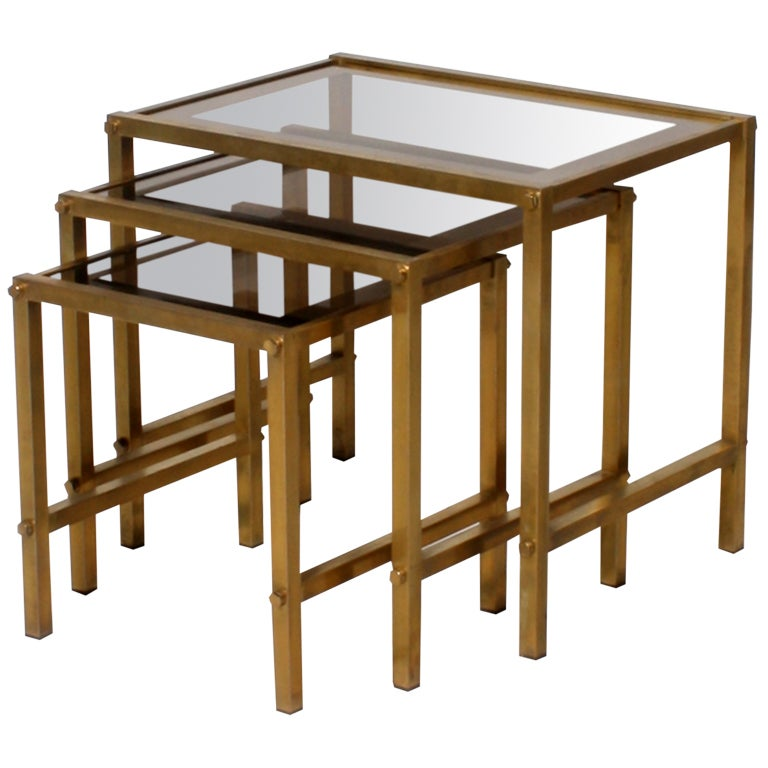Nest of 3 bronze tables with glass tops at 1stdibs for Glass top nesting tables