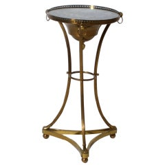 Small Round Iron Table With Mirror, C.1940