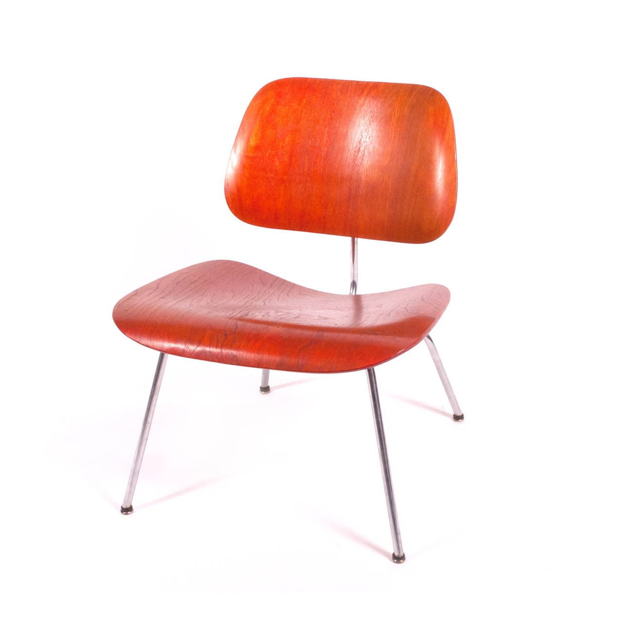 1951 original red aniline dyed lcm chair by charles eames