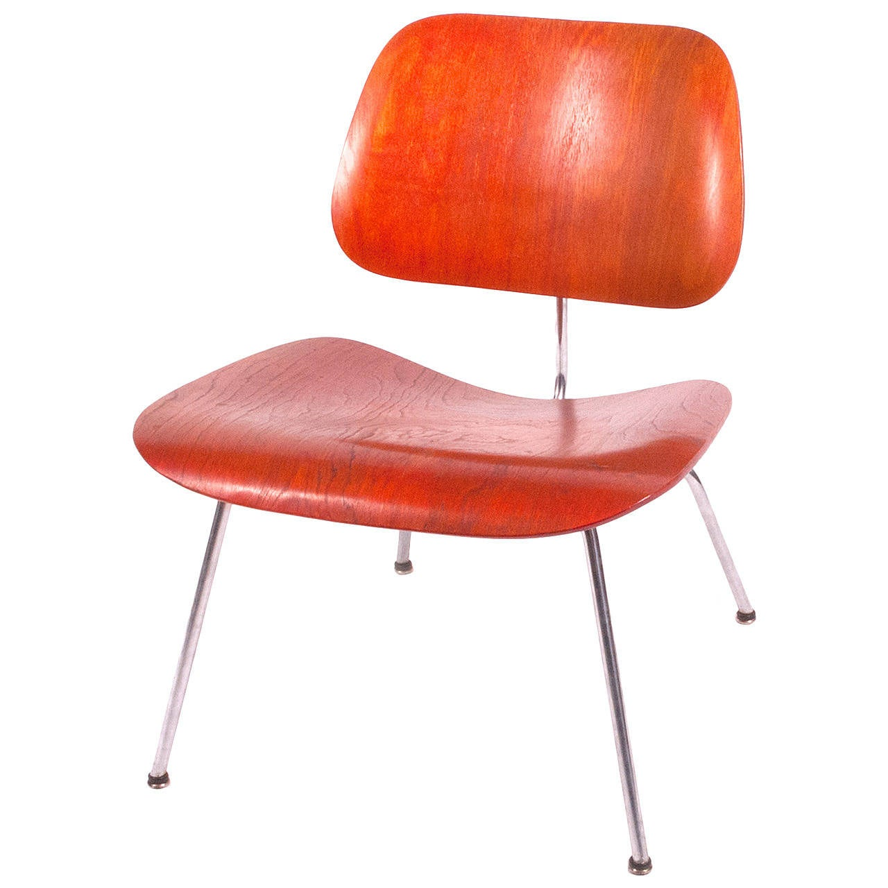 1951 original red aniline dyed lcm chair by charles eames. Black Bedroom Furniture Sets. Home Design Ideas