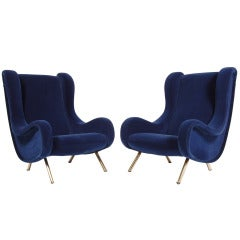 Pair of Senior Lounge Chairs by Marco Zanuso
