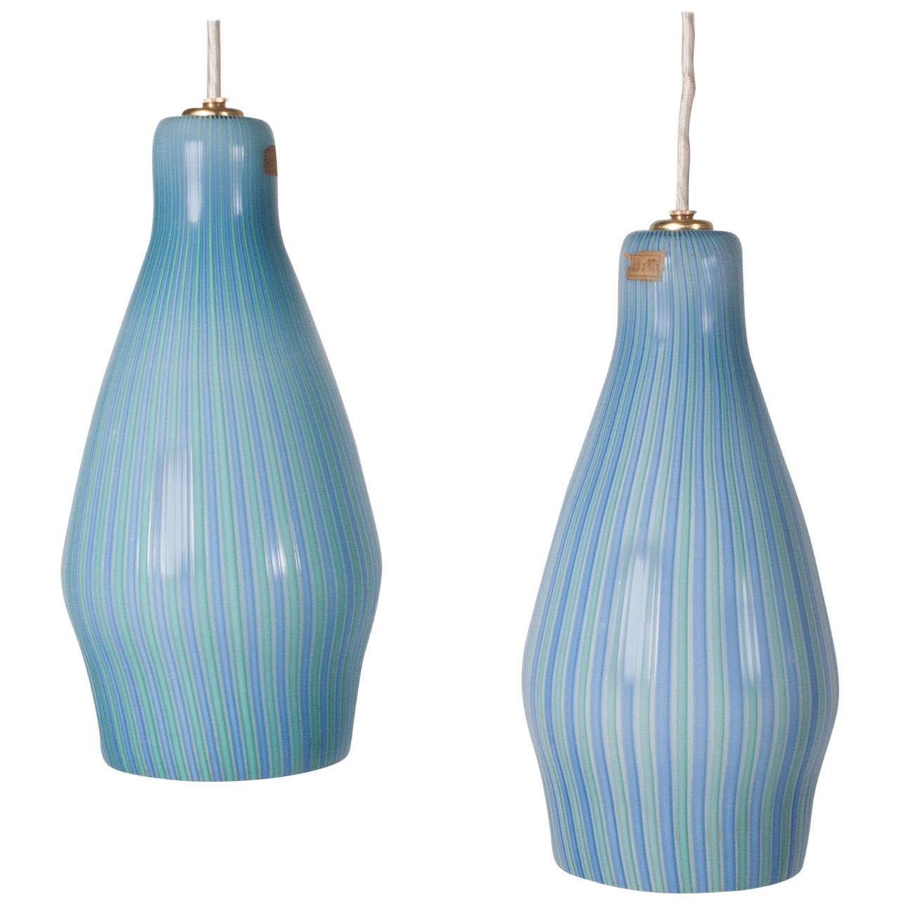 Pair of Pendant Lamps by Venini For Sale