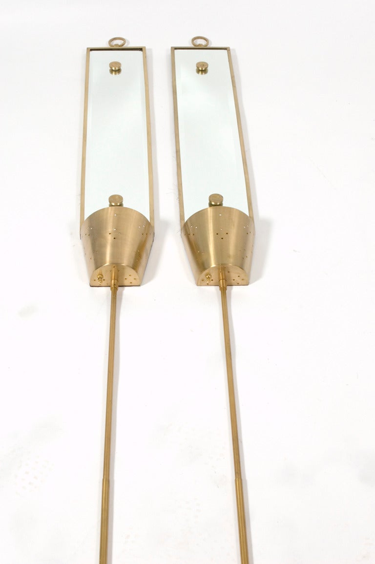 Wall Sconces Long : Tommi Parzinger Brass Wall Long Mirrors Sconces at 1stdibs