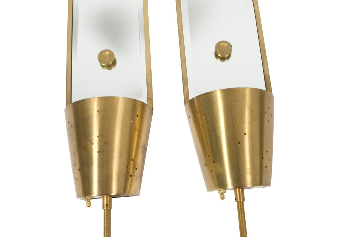 Tommi Parzinger Brass Wall Long Mirrors Sconces at 1stdibs