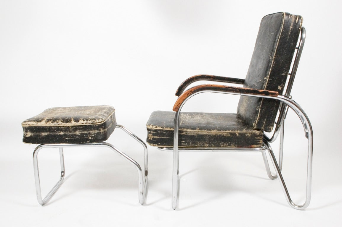Art Deco 1920s, Original Bauhaus Easy Chair and Ottoman For Sale