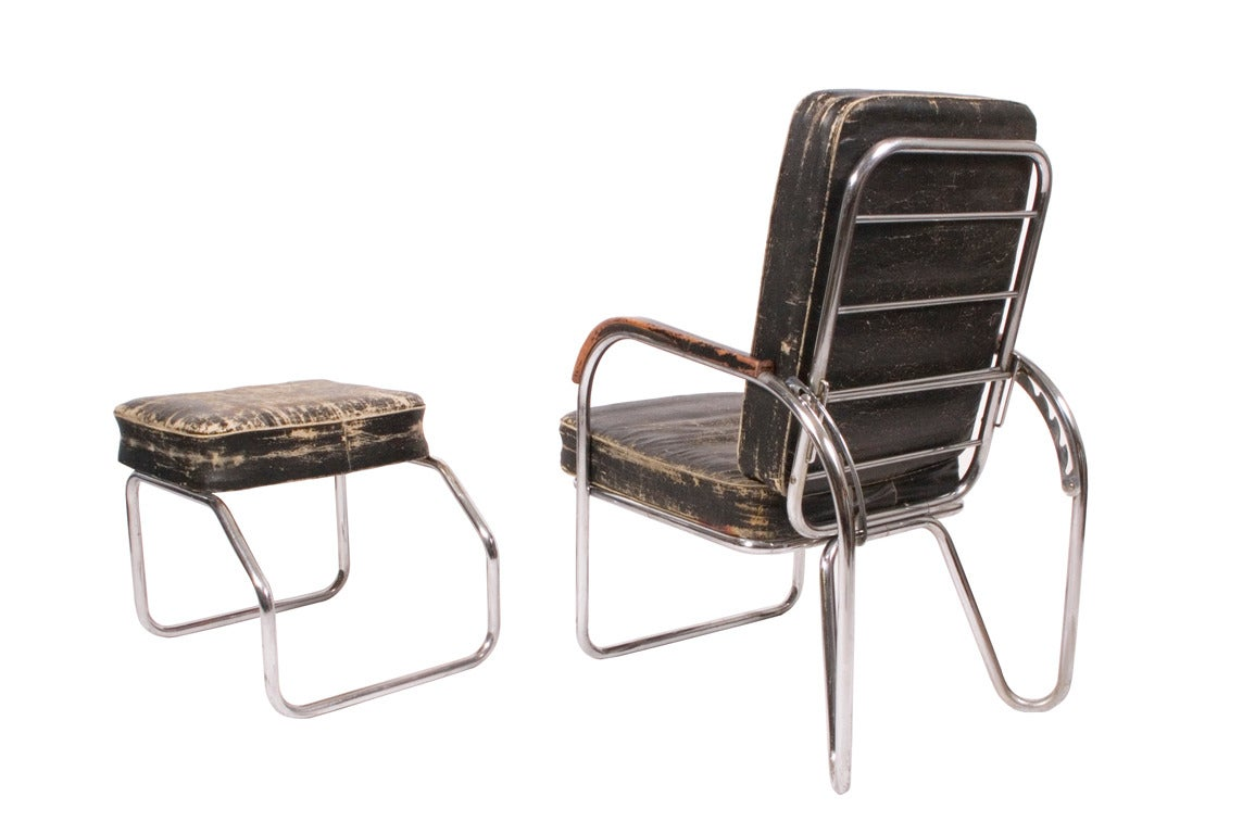 German 1920s, Original Bauhaus Easy Chair and Ottoman For Sale