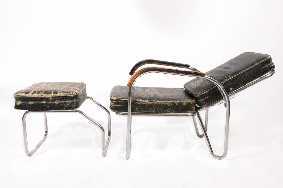1920s, Original Bauhaus Easy Chair and Ottoman In Good Condition For Sale In Dallas, TX